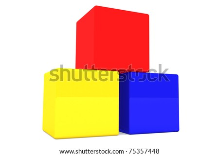 3d plastic cube in white isolation background