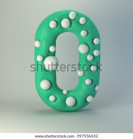 3d Plasticine handmade font. Cute cartoon children's style figures with white polka dots. Bright sea green uppercase letter O, isolated on white background. - stock photo
