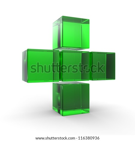 3D plus icon in green on isolated white background. 3D cross Icon ... - stock photo