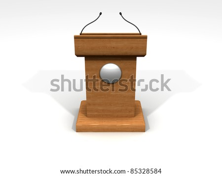 3D Podium made with wood - stock photo