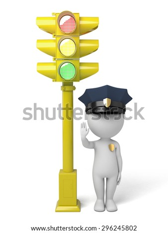 3d policeman making stop sign by a traffic light. 3d image. Isolated white background. - stock photo