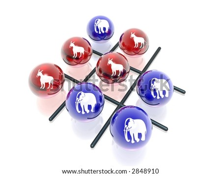 3D political crosses & naughts - stock photo