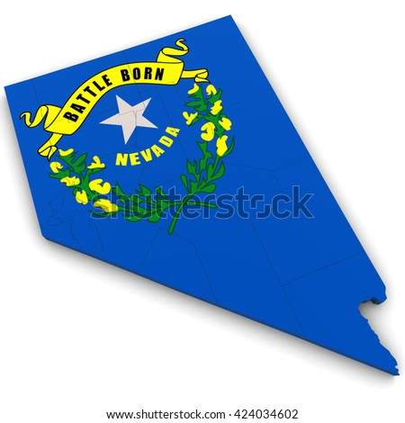 3d Political Map of Nevada with Counties and State Flag