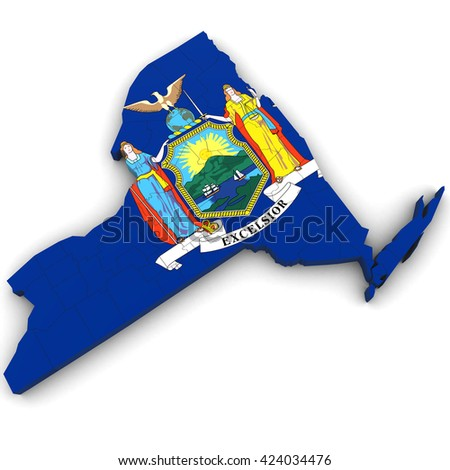 3d Political Map of New York with Counties and State Flag