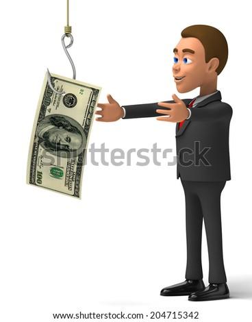 3d poor businessman hooked - stock photo
