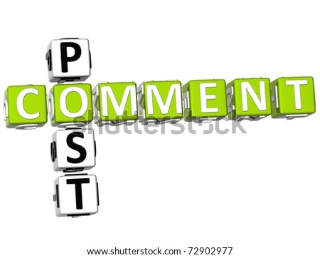 3D Post Comment Crossword on white background - stock photo