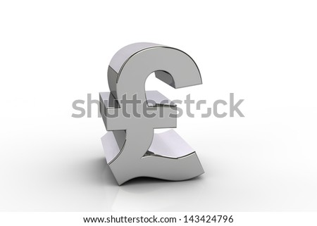 3D pound sterling currency symbol,  over white background