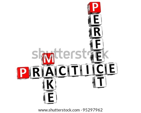 3D Practice Make Perfect Crossword on white background - stock photo