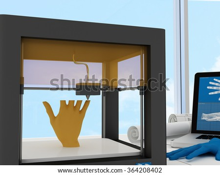 3d printed human hand - stock photo
