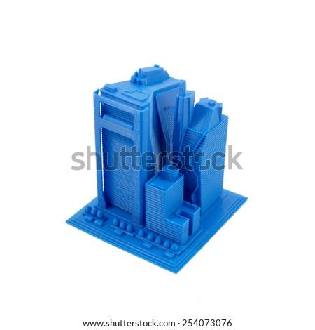 3D Printed Model Of Skyscrapers - stock photo