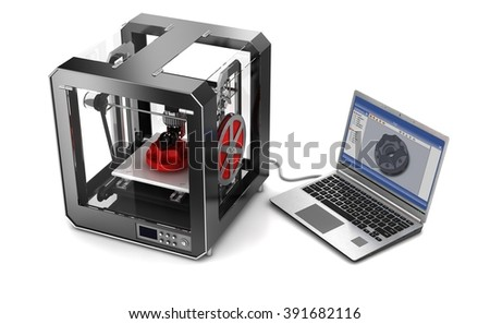 3d printer and laptop. Isolated on white. 3d illustration - stock photo