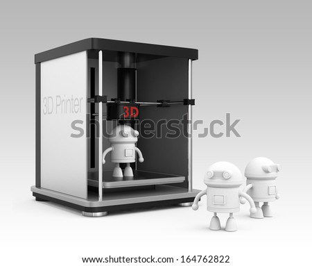 3D printer and output robot models. - stock photo