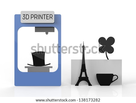 3D printer and various printed objects and prototypes. 3D printed cup, tower and clover flower.
