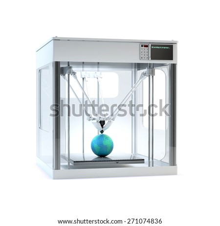 3D printer machine printing a globe - rapid prototyping  - stock photo