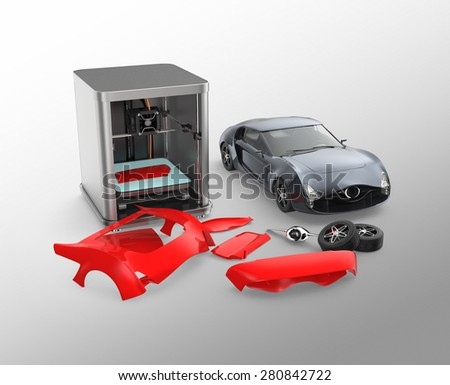 3D printer printing car body parts. Concept for customize printing service. Clipping path available. - stock photo