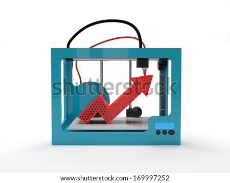3D printer with red arrow up - stock photo