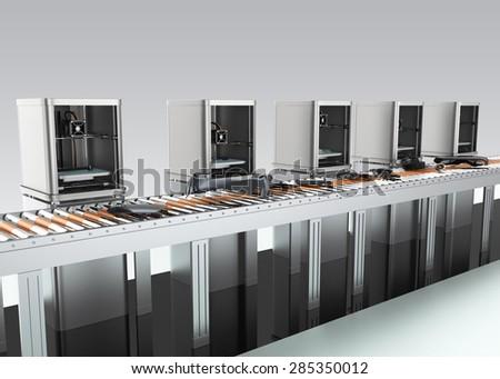 3D printers manufacturing car parts beside belt conveyor. Concept of smart factory. - stock photo