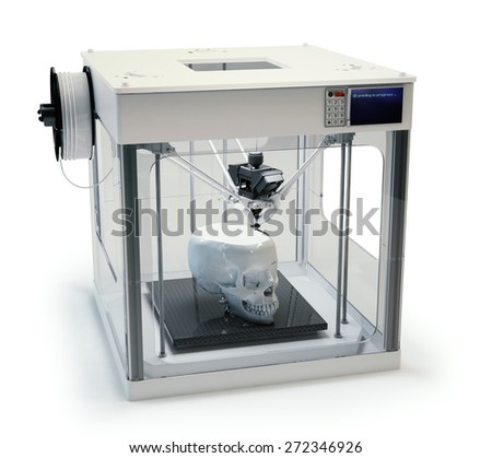 3D printing a human skull - rapid prototyping prosthetics - stock photo