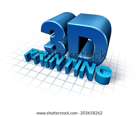 3D printing concept with three dimensional text as a symbol of new print technology duplicating objects for product or prototype development,using industrial robots and future manufacturing process. - stock photo