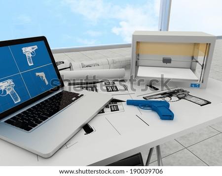 3d printing technology, printing gun - stock photo