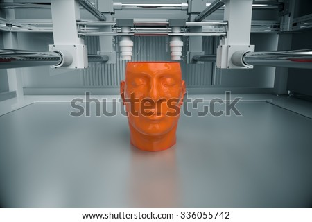 3D Printinted Model Of Human Head - stock photo