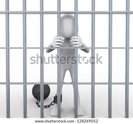 3D Prisoner Jailed in Cell - stock photo