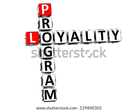 3D Program Loyalty Crossword on white background - stock photo