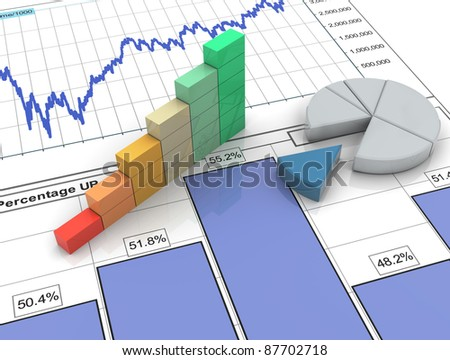 3d progress bar and pie chart on financial analysis report - stock photo