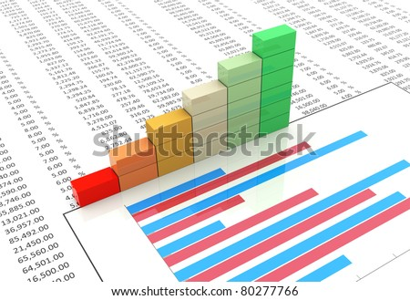 3d progress bars on background of spreadsheet and chart - stock photo
