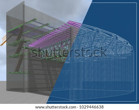 architectural engineering buildings. Exellent Architectural 3D Project Of Reconstruction And Construction Buildings Made Metal  Structures Transparent Wall And Architectural Engineering Buildings P