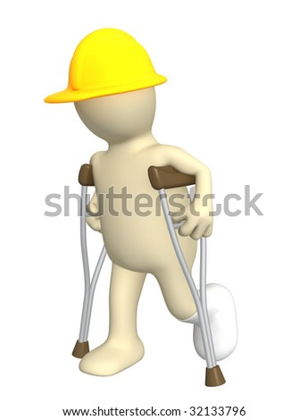 3d puppet - builder with crutches - stock photo