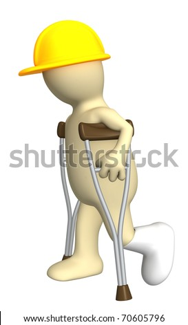 3d puppet - builder with crutches. Isolated over white - stock photo