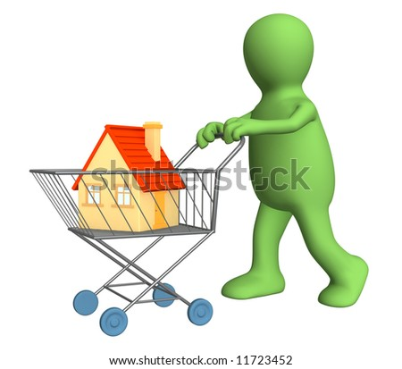 3d puppet - buyer, bought the house. Objects over white - stock photo