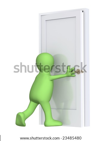 3d puppet, closing a door. Over white - stock photo