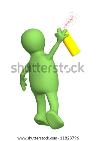 3d puppet, drawing a spray with a paint. Objects over white - stock photo