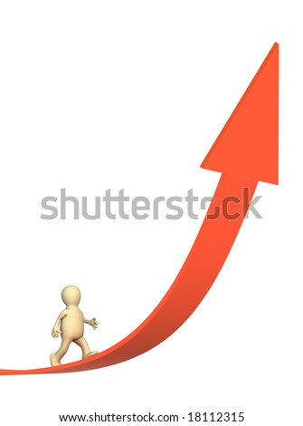 3d puppet going on a rising red arrow - stock photo
