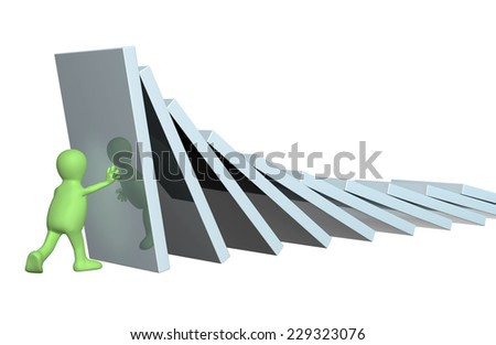 3d puppet, holding figures of a dominoes. Isolated on white background - stock photo