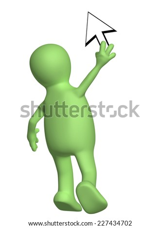3d puppet with a cursor. Isolated on white background