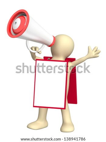 3d puppet with megaphone and message board. Isolated over white - stock photo