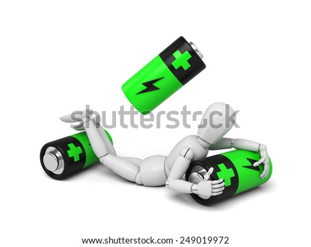 3d puppet with some batteries.  3d image. Isolated white background