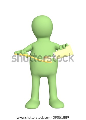 3d puppet with toothbrush. Over white