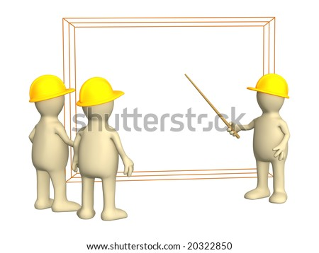 3d puppets - builders discussing the project - stock photo