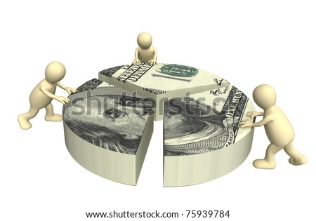 3d puppets, installing the diagram. Isolated over white - stock photo