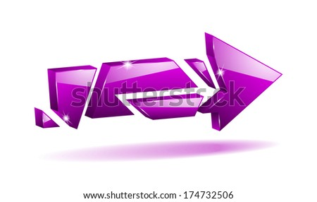 3D purple broken arrow pointer with reflection (raster version, available as vector too) - stock photo