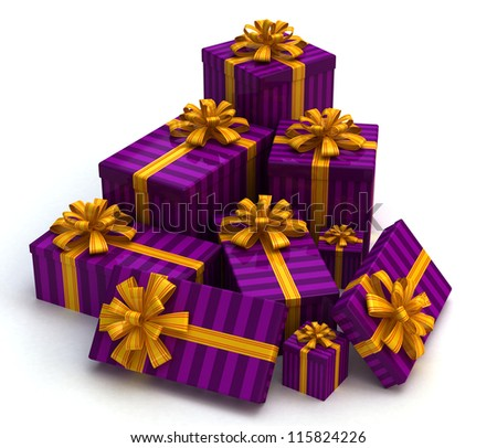 3D Purple Gift christmas boxes isolated on white - stock photo