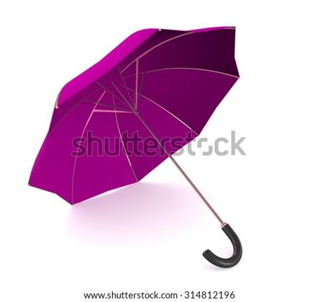 3d purple umbrella - stock photo