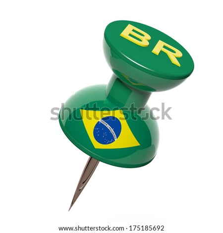 3D pushpin with flag of Brazil isolated on white - stock photo
