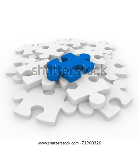 3d puzzle blue white success connection piece business - stock photo
