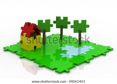 3D Puzzle Colorful Backyard. - stock photo