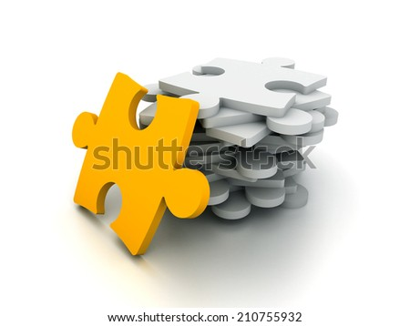 3D puzzle concept isolated on white.